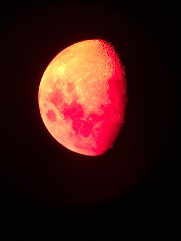 Waning Gibbous Moon with Red Filter